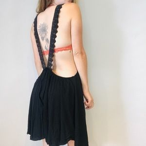 Free People black lace crochet backless dress